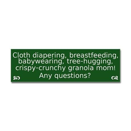 Cloth diapering breastfeeding bumper bumper sticker on cafepress com