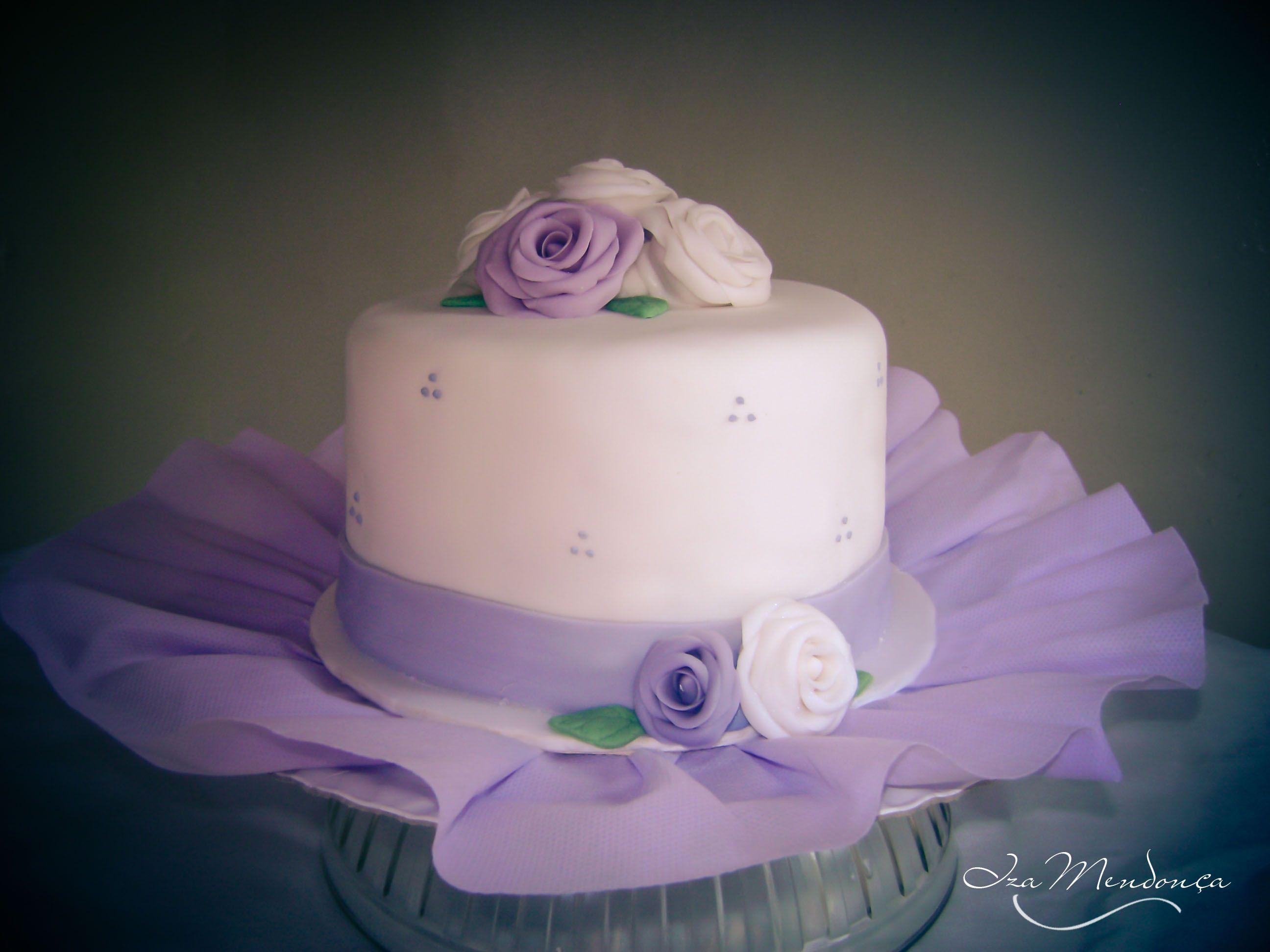 Bolo Cake Rosas Rose Flower Flores Lilas Lilac Fondant Pasta