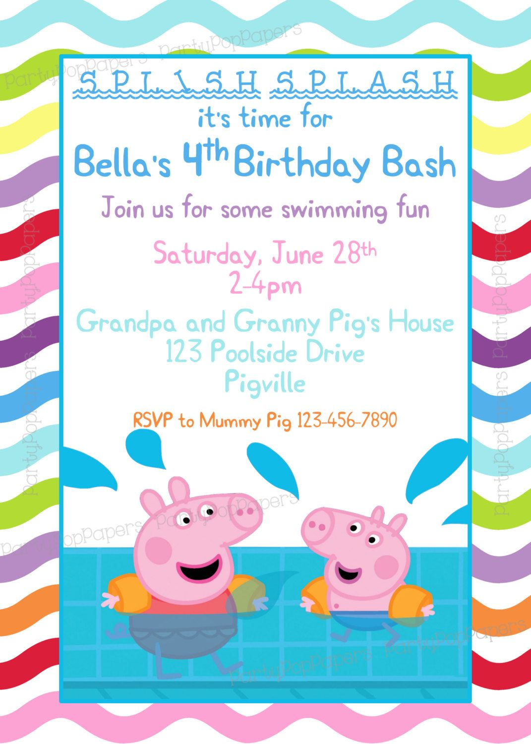 Piscina Peppa Pig Peppa Pig Printable Birthday Invitation By Partypoppapers