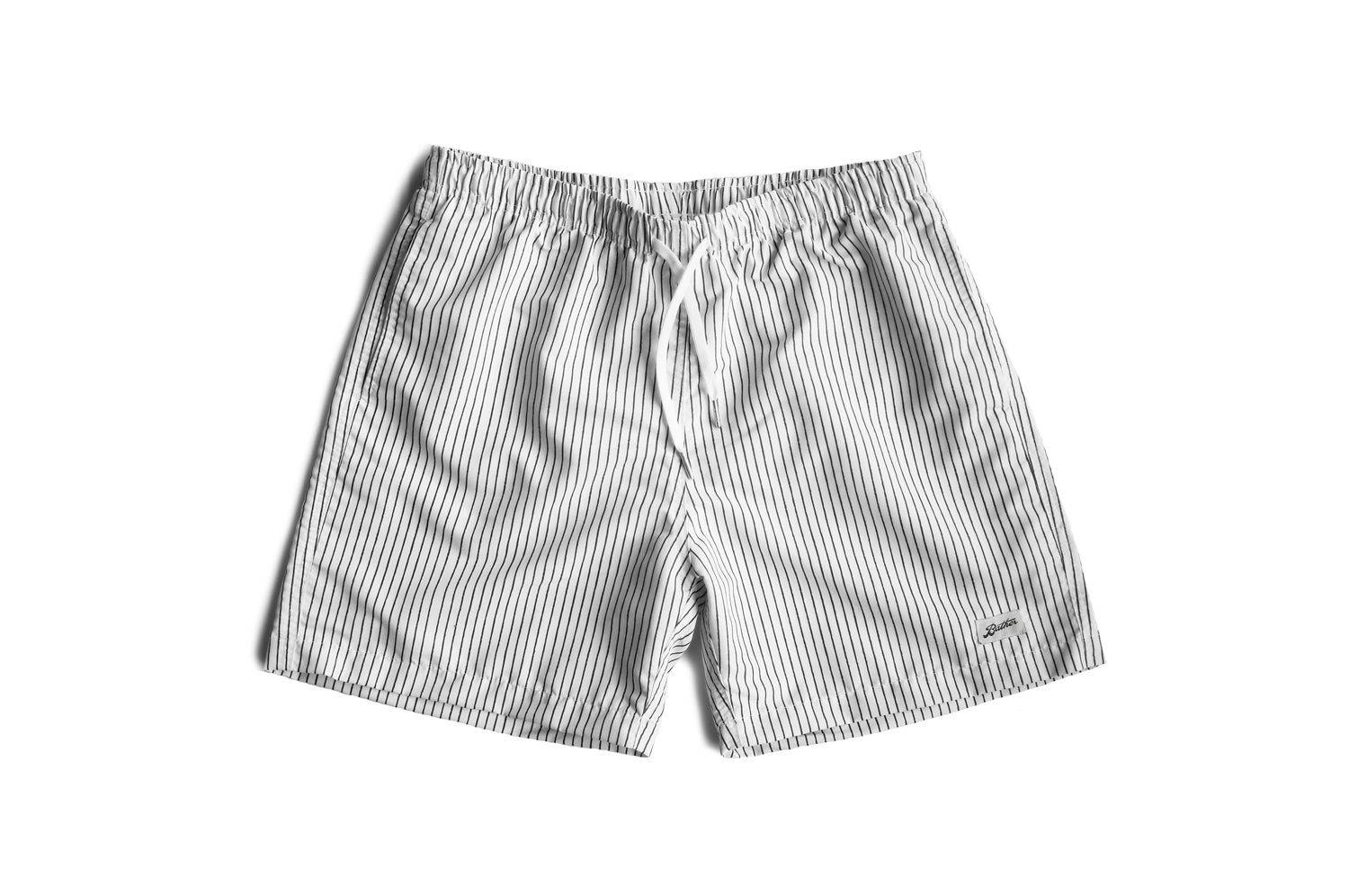 cb4b97228bb00 White Pin Stripe Swim Trunk by Bather | Products | Mens fashion ...