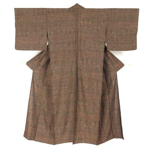 Brown red, silk, tsumugi komon kimono / 赤茶色で抽象柄を織り上げた紬地の単衣小紋 http://www.rakuten.co.jp/aiyama #Kimono #Japan #aiyamamotoya