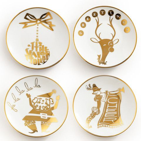 Holly Jolly Appetizer Plates, Set of 4