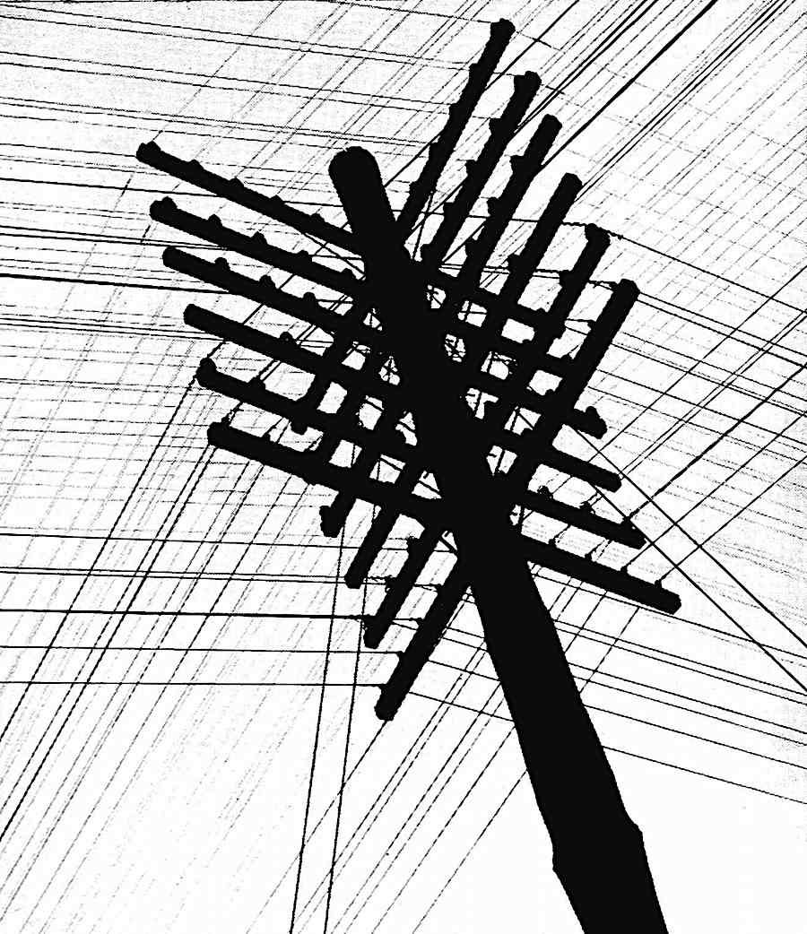 A 1963 Electric Street Pole With Telephone Wires Worms Eye View Pure Aesthetics Birds Eye View