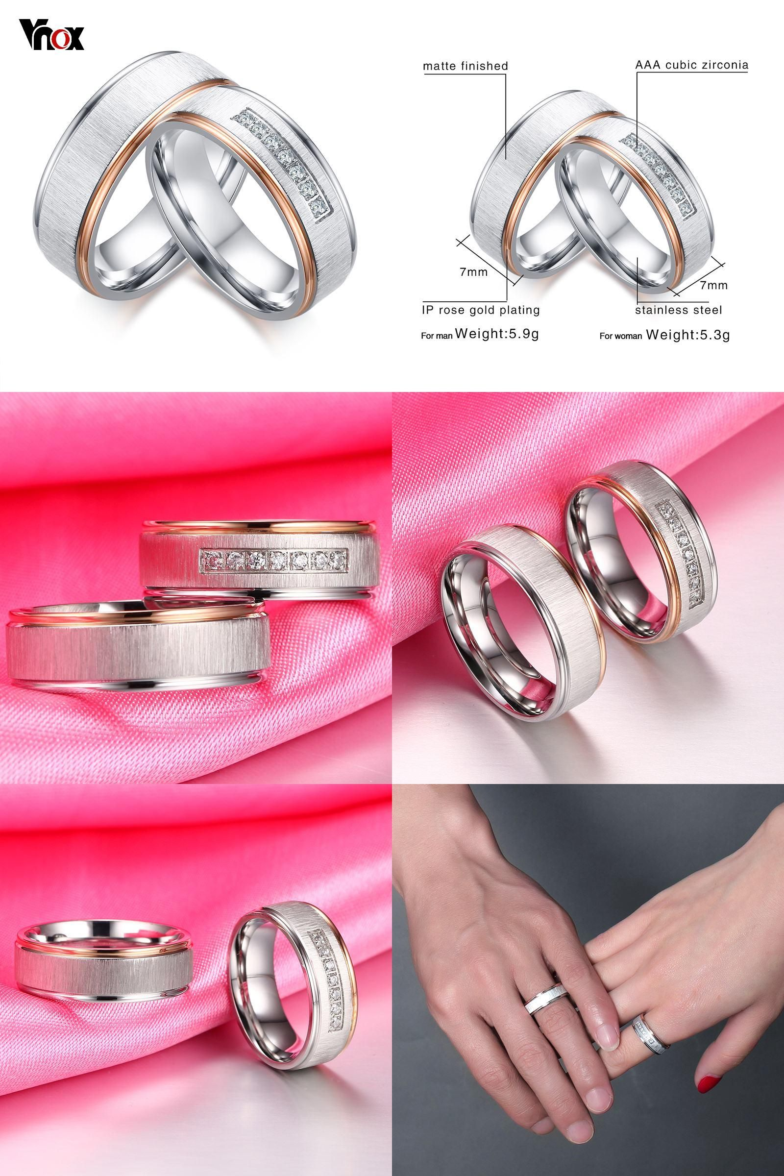 Visit to Buy] Vnox Matt Surface Wedding Rings for Women Men CZ ...