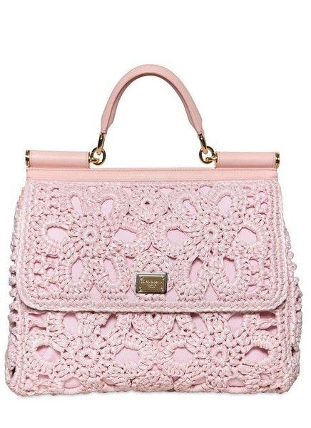Dolce & Gabbana Miss Sicily Crochet Raffia Canvas Bag in Pink - Lyst