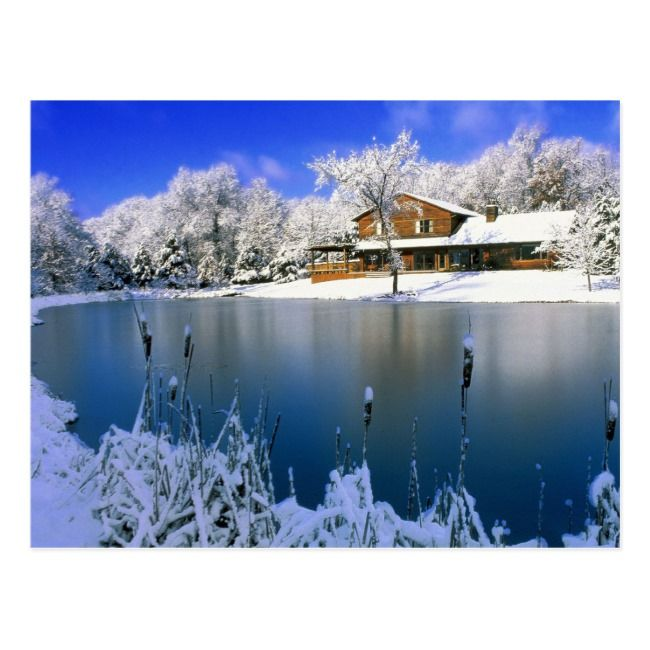 Winter Scene House By The Lake Postcard Zazzle Com In 2021 Winter Scenery Winter Landscape Landscape Wallpaper Beautiful wallpaper house photo