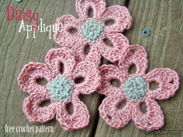 Free Crochet Pattern - Flower Applique. thanks so xox | knitting ...