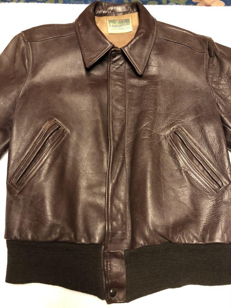 Vintage 1940s 1950s Californian Horsehide Leather Motorcycle Jacket