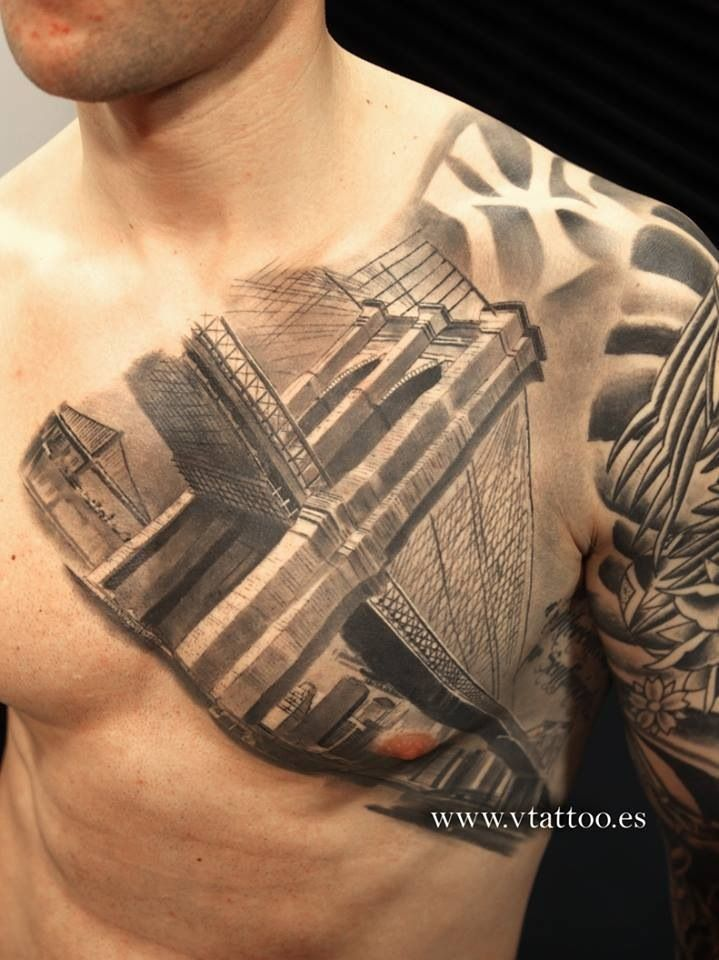 Ny Themed Tattoo New York Tattoo Bridge Tattoo Tattoos For Guys