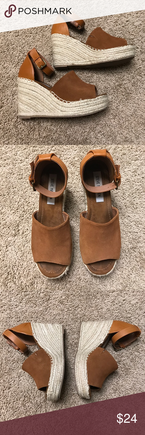 Steve Madden Wedges Wedge, size 7.5, so cute on, worn a few times Steve Madden Shoes Wedges