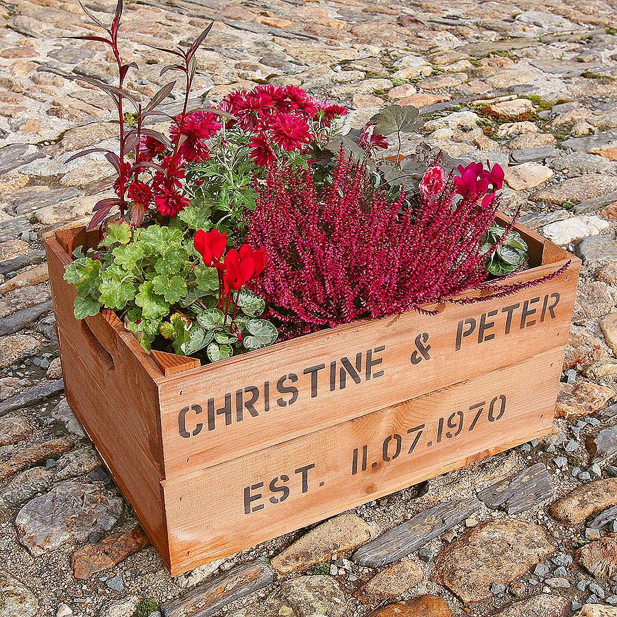 Wedding Table Ruby Wedding Table Decorations personalised crate ruby wedding anniversary planters anniversary