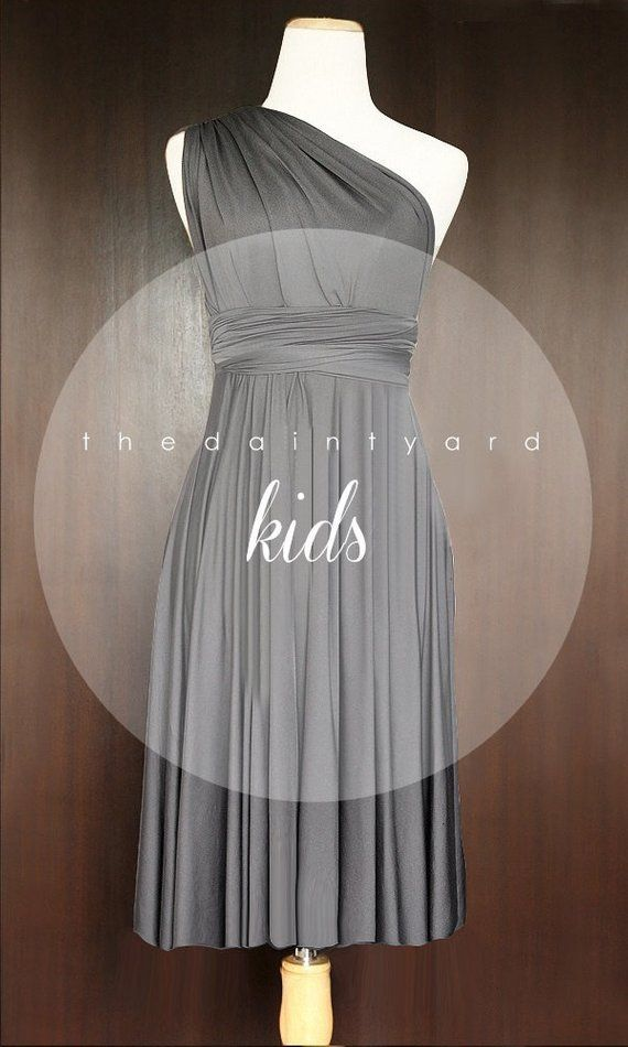 3dfcdf20eb6 KIDS Slate Bridesmaid Convertible Dress Infinity Dress Multiway Wrap Dress  Twist Dress Flower Girl D
