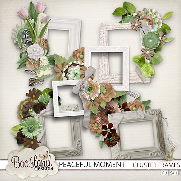 Peaceful Moments - Cluster Frames Pack #BoolandDesigns  #thestudio #digiscrap