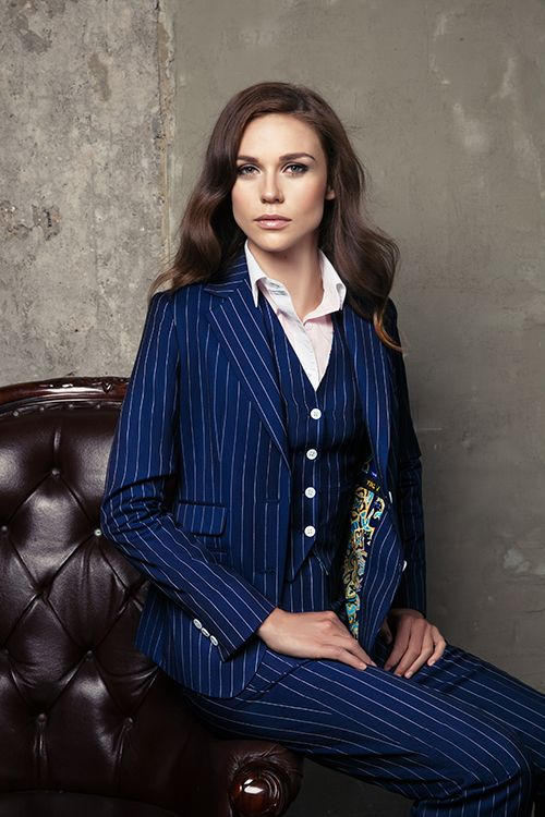 Women S Pinstripe 3 Piece Blue Pant Suit The Bespoke Club In 2018
