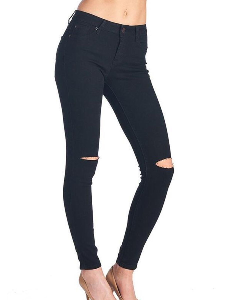 Black ripped jeans womens h&m