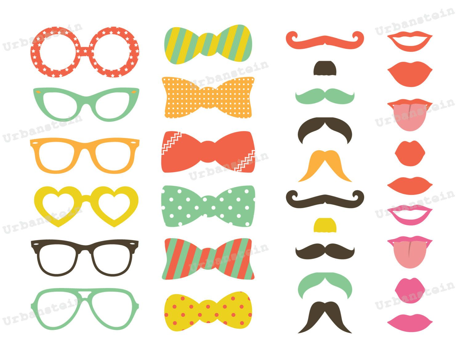 Genoeg Photo Booth Props Printable Lips Photo booth props - pastel  KH24