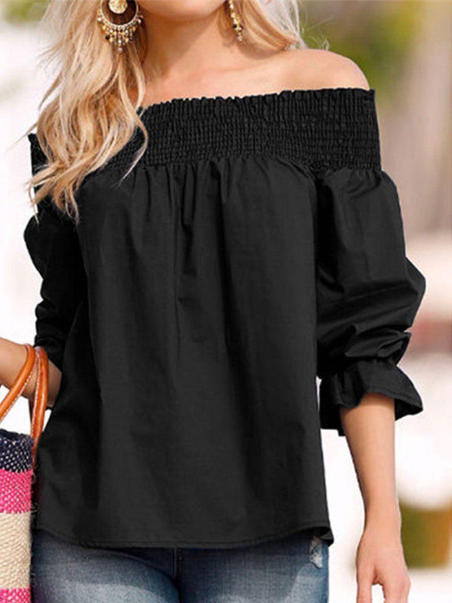 bc6c5424ee652 Spring Summer Polyester Women Open Shoulder Bowknot Plain Three-Quarte  Blouse For Women Blouse For