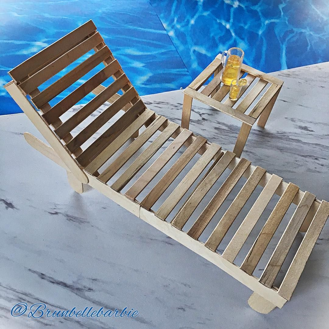 "Barbie doll furniture made by  @brunbellebarbie on Instagram: ""Here's the first of 2 poolside Popsicle stick loungers. These will ultimately be painted satin…"" #barbiefurniture"