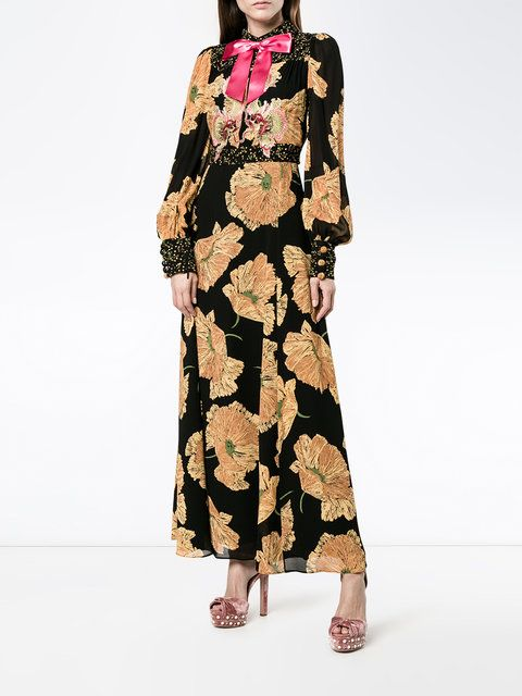 40246681e Gucci vestido de fiesta con motivo de amapolas