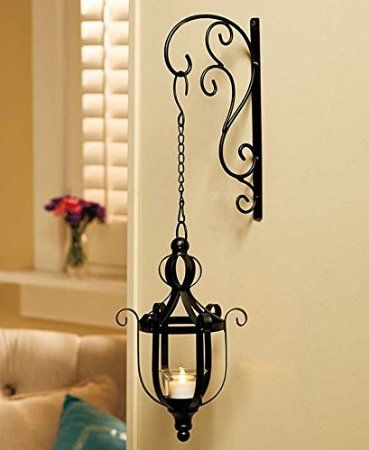 ebc02a64a1f Black Vintage Style Metal Decorative Wrought Iron Hanging LED Candle Lantern  Sconce Home Accent Decoration