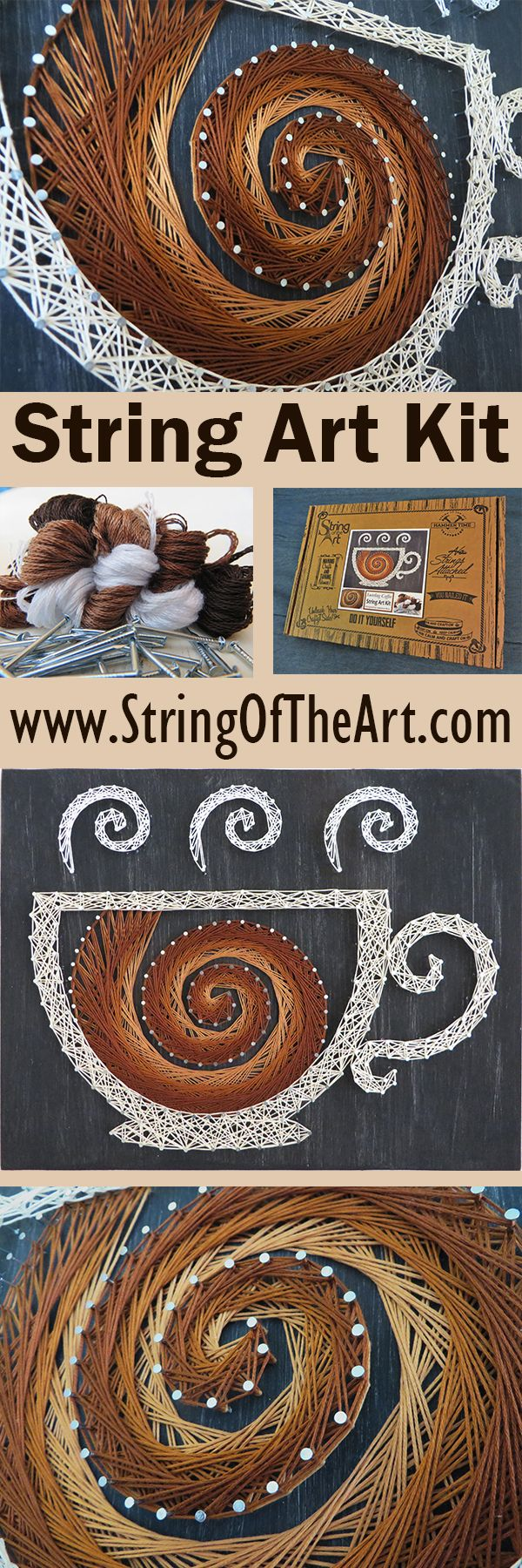 DIY String Art Kit - Visit www.StringoftheArt.com to learn more about creating this easy and fun coffee string art project!  Kit comes with a HAND sanded and HAND painted distressed black pine wood board, highest quality embroidery floss, metallic wire nails, easy to follow instructions, and pattern template.  DIY Home Decor, Crafts Kit, DIY and Crafts, Coffee Decor