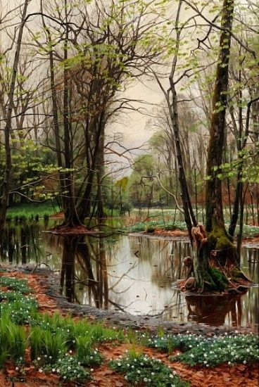 Peder Mørk Mønsted. Spring day in the forest with beeches and anemones in bloom, painted 1903
