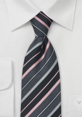 Krawatte Dunkelgrau Streifen Rosa Silber Graue Streifen Dunkelgrau Krawatte