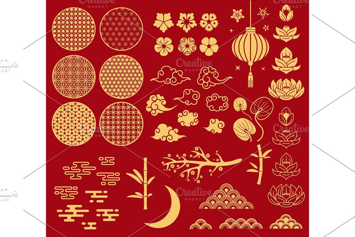 Chinese new year elements. Festive