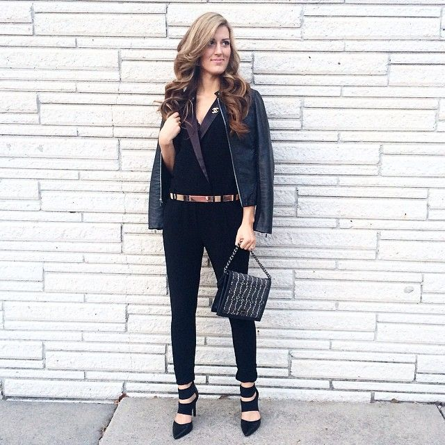 << Valentine's eve date night is under way in a gorge black tuxedo jumpsuit and my