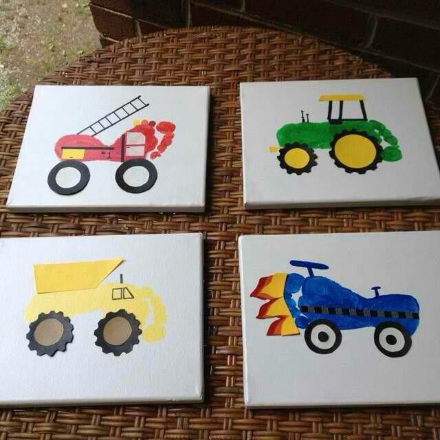 Foot prints, Trucks, tractors & cars!