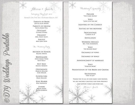 winter wedding program template snowflake wedding program
