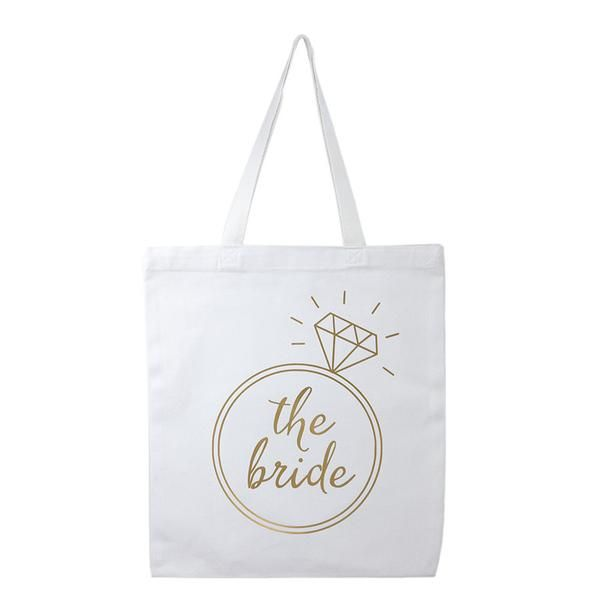 white and gold bride tote bag