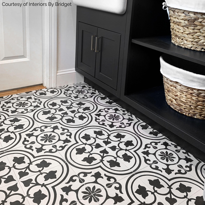 white ornate 9x9 matte porcelain tile