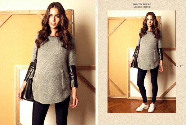 acb9064ff sweater con apliques de cuero para embarazadas Maa Maternity invierno 2016  Looks Embarazadas
