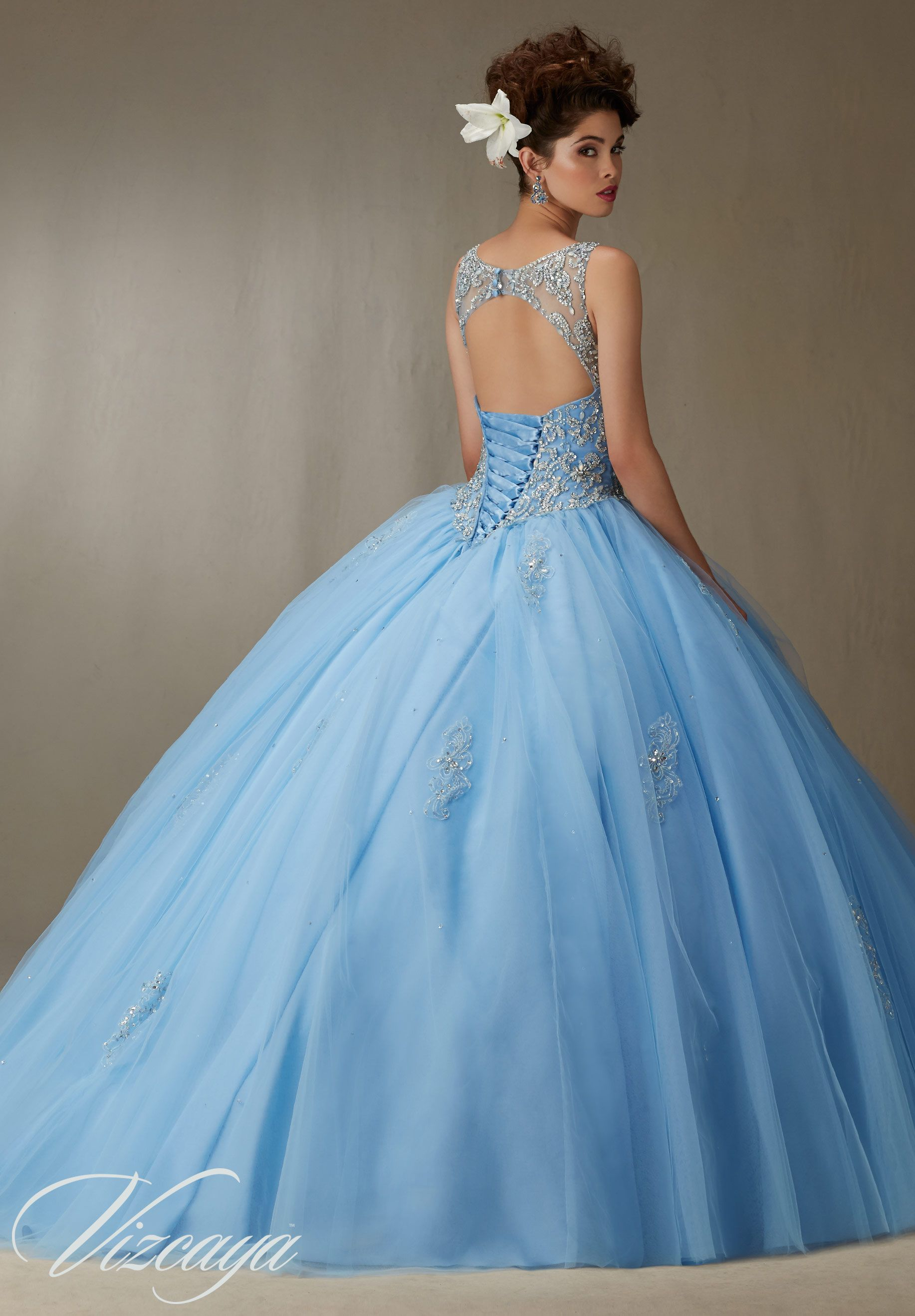 Embroidery and Beading on a Tulle Ball Gown Quinceañera Dress ... 4efd1c746178