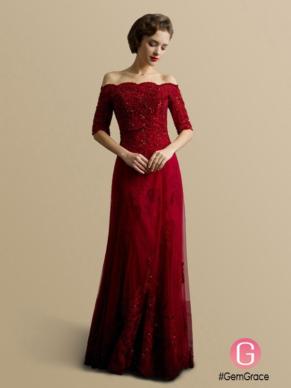 782568240b Best Off the Shoulder Lace Half Sleeve Long Red Wedding Dress  BS099 ...
