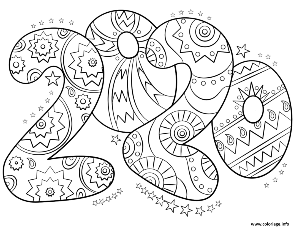 Coloriage 2020 Number nouvel an   JeColorie.| Coloriage