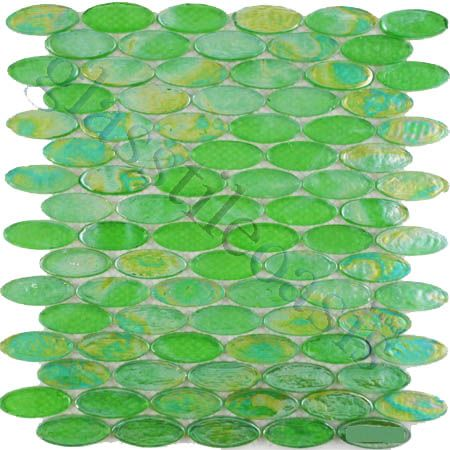 ISI Ovals Oval Green Glossy Iridescent Green Glass Glass