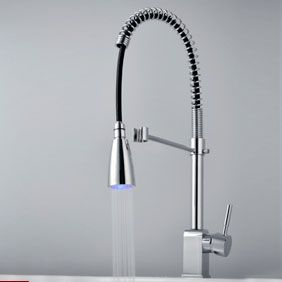Contemporary Led Colour Change Single Handle Chrome Centerset Pull Out Kitchen Tap