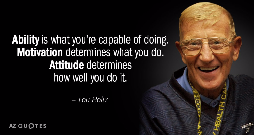 Lou Holtz Quote Ability Is What You Re Capable Of Doing Motivation Determines What Lou Holtz Quotes Inspirational Sports Quotes Best Sports Quotes