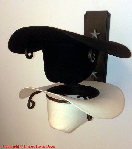 American Made Cowboy Hat Holder Double with Stars BLK/SLV