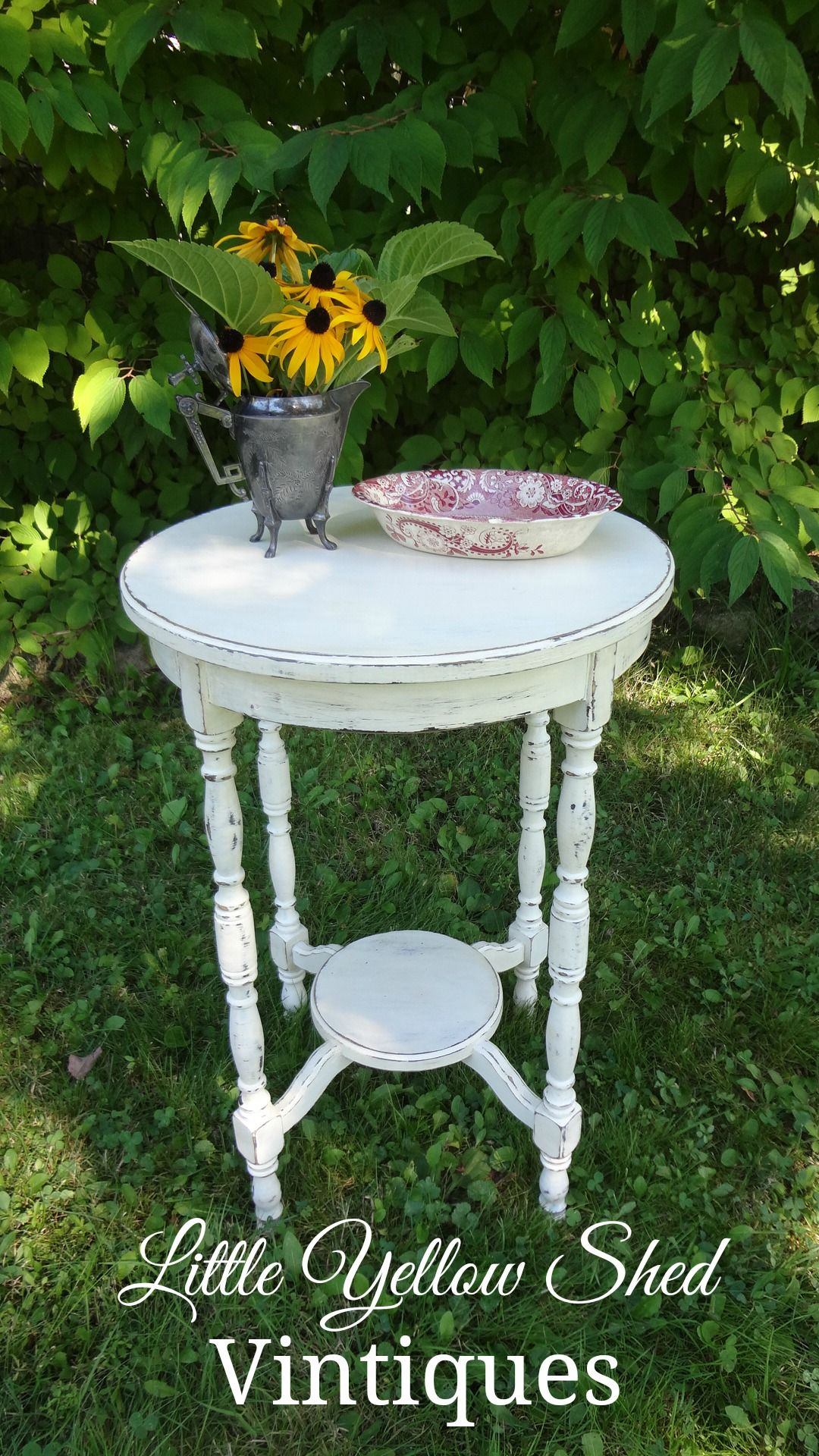 Antique White Side Table #17 - Refinished Antique Side Table Painted Using An Off-white Sherwin Williams  Paint And Then Distressed