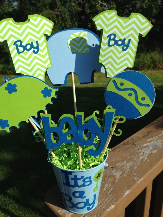 Baby Shower Table Decoration Centerpiece Its A Boy Elephant and Onesies Blue and Green