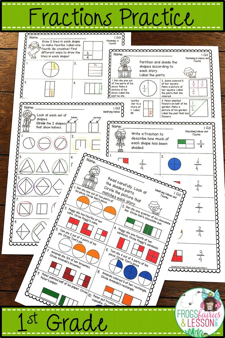 Practice Activities And Assessments For Identifying Describing And Partitioning Circles And Rectangles In Early Childhood Math Fraction Activities Fractions