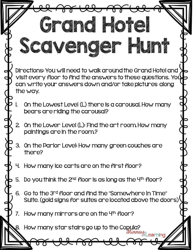 Mackinaw Island Grand Hotel Scavenger Hunt Scavenger
