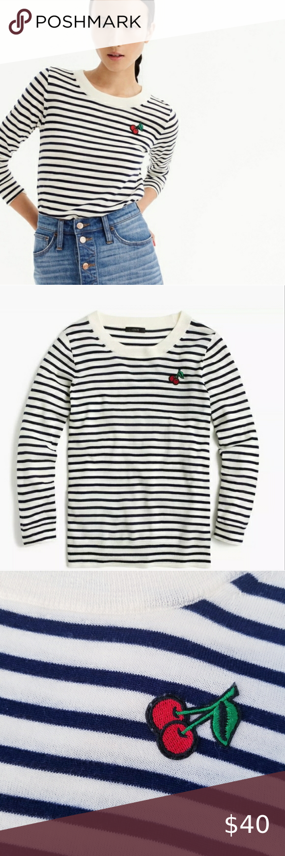 J Crew Cherry Stripe Tippi Sweater M Tippi Sweater Pink Cashmere Sweater Crew Neck Pullover Sweater [ 1740 x 580 Pixel ]