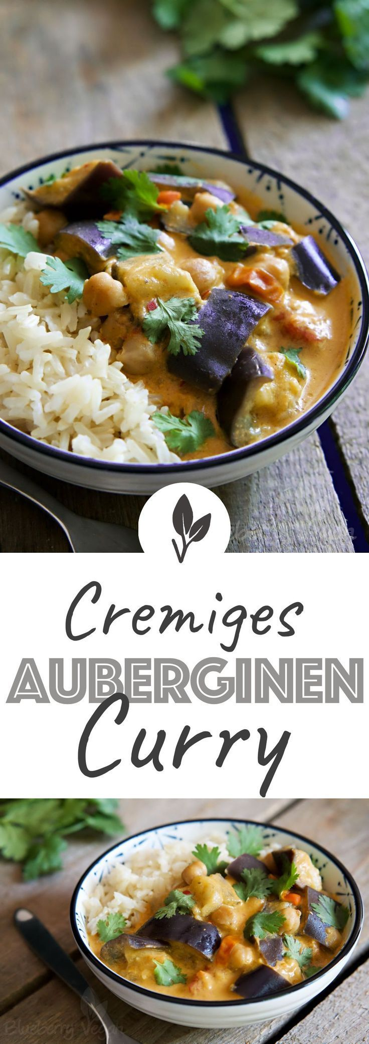 Auberginen-Curry mit Kichererbsen #indianfood