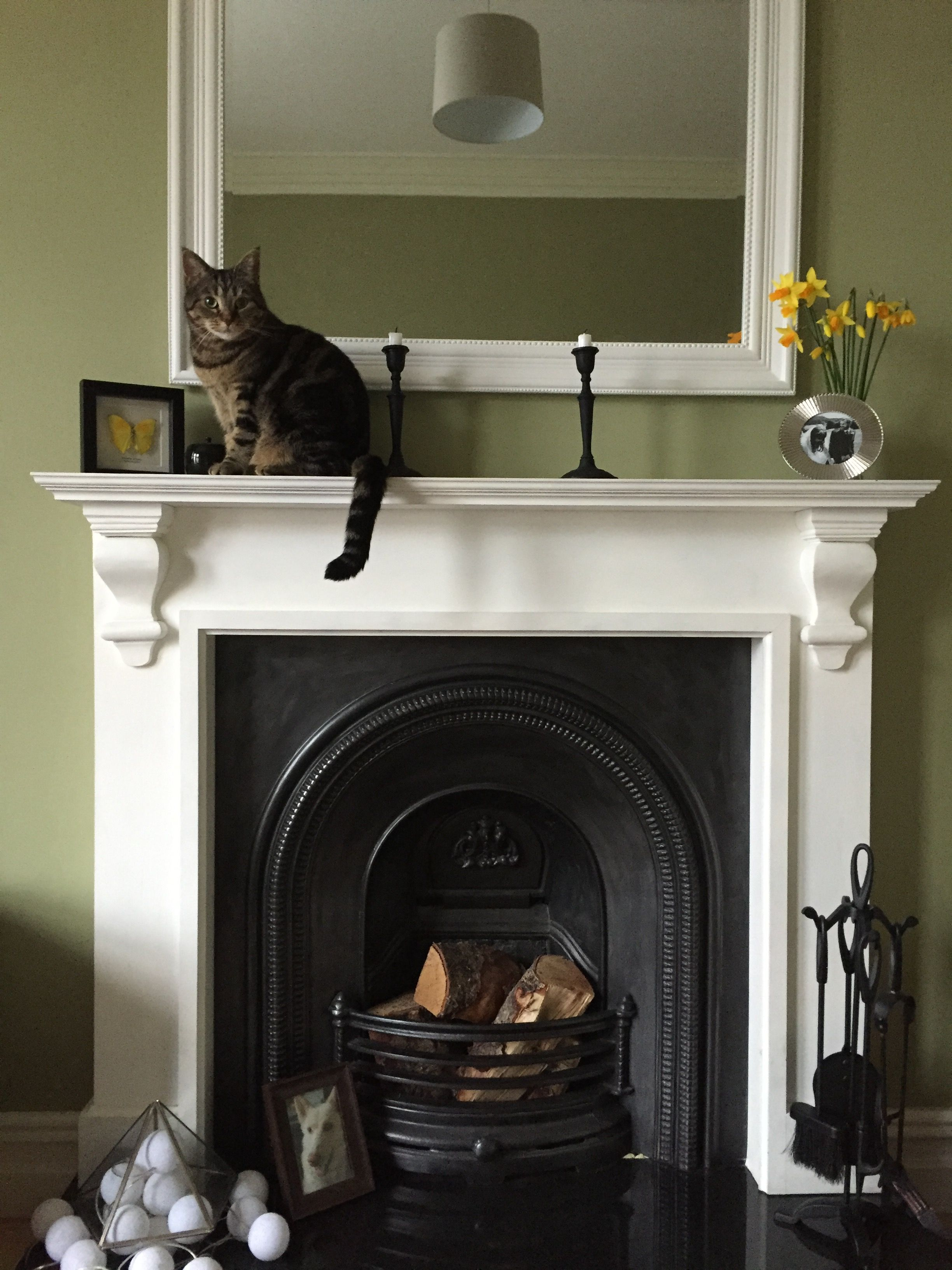 Victorian Fireplace In A Heritage Green Living Room With Yellow Accents Cast Iron And