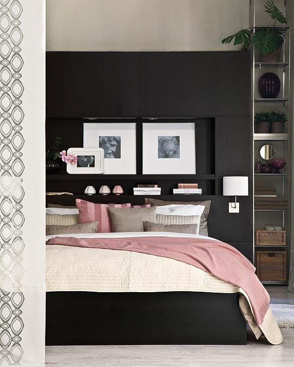Cabecero con almacenamiento + rosa y, blanco y negro.   Espacios ...