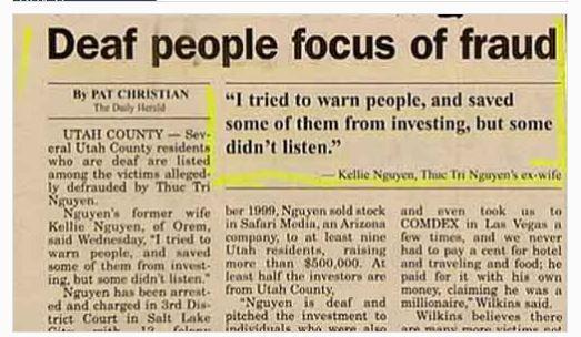 Funny headline: Deaf people focus of fraud...